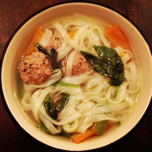 Rice Noodle and Skinny Meatball Soup